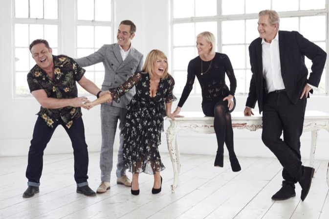 From Big Talk Productions Cold Feet: SR6 on ITV Pictured: Pete Gifford [John Thomson], Adam Williams [James Nesbitt], Jenny Gifford [Fay Ripley], Karen Marsden [Hermione Norris] and David Marsden [Robert Bathurst]. This photograph is (C) ITV Plc and can only be reproduced for editorial purposes directly in connection with the programme or event mentioned above, or ITV plc. Once made available by ITV plc Picture Desk, this photograph can be reproduced once only up until the transmission [TX] date and no reproduction fee will be charged. Any subsequent usage may incur a fee. This photograph must not be manipulated [excluding basic cropping] in a manner which alters the visual appearance of the person photographed deemed detrimental or inappropriate by ITV plc Picture Desk.  This photograph must not be syndicated to any other company, publication or website, or permanently archived, without the express written permission of ITV Plc Picture Desk. Full Terms and conditions are available on the website www.itvpictures.com For further information please contact: james.hilder@itv.com / 0207 157 3052